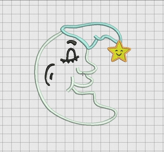 Moon Man With Hat And Star Applique Embroidery Design In 4x4
