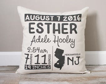 Birth Announcement Pillow | Personalized Baby Pillow | Gift for New Mom | Baby Stats Pillow | Rustic Home Decor | Nursery Decor
