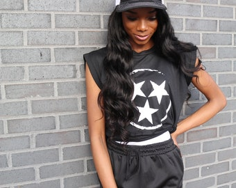 Black White Edgy Tristar Women's Flowy Muscle Tee