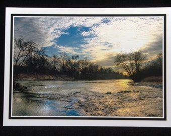 A Winter Sunset Along The Mad River 5x7 Blank Card By ThomasMinutoloPhotos