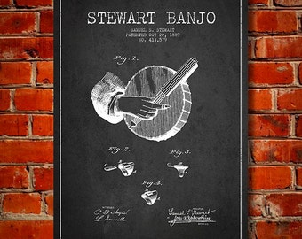 1889 Stewart Banjo Patent, Canvas Print, Wall Art, Home Decor, Gift Idea