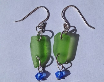 Green Sea Glass Earrings with Blue Crystal Bead - Beach Glass Earrings - Dangle Earrings