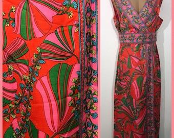 VTG Puccini-esque Psychedelic Mod Pop Art Hostess Dress WEARABLE ART Size L