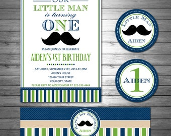 Little Man Birthday Invitation and Party Package, Mustache Birthday, Blue and Green Birthday Party Package Printable