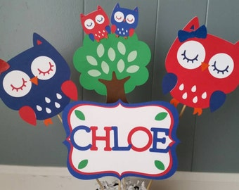 4 pc personalized Owl Centerpiece