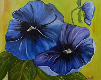 Oil painting pansy blue original painting