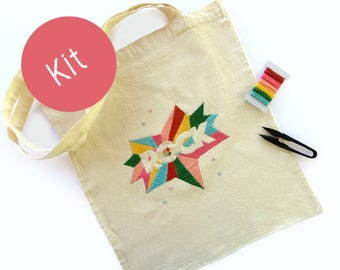 Rock Tote Embroidery Kit, Modern hoop art kit, Embroidery pattern, DIY Embroidery Kit, Hand Embroidery Project, Needle Craft Kit