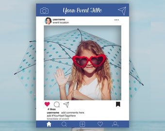 Editable Blue Instagram Photo Prop Frame, Blue Photo Booth Prop, Weddings,Birthday, Baby or Bridal Shower, Template, Instant Download PDF