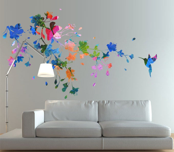 Hummingbird Sticker Floral Watercolor Wall Art Decal