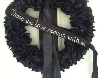 Wreath Mourning Wreath Black Ribbon 18 inch In Remembrance In Memorium Love Always