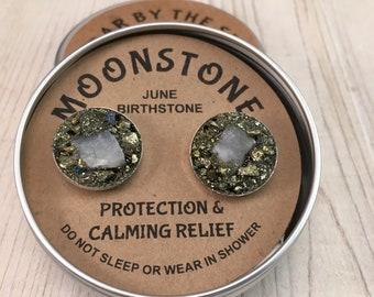 Moonstone June Cufflink, Febuary Birthstone , Raw Stone, birthstone  gift for boyfriend, gift for man, boss gift anniversery gift