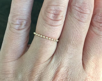 14k solid yellow gold chain ring, polished bead chain , flexible ring , dainty ring, stacking ring