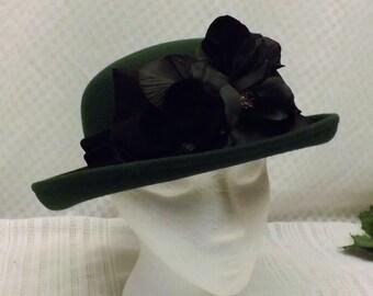 Vintage Bowler Derby Women's Hat  Hunter Green with Black Flower
