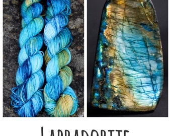 Labradorite - Preorder - Limited Edition Crystal Gemstone Inspired Hand Dyed Yarn - Sock DK Aran Mini and Sparkle - 50g 100g