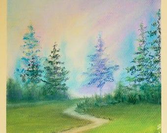 The old road. Pastel on paper.  32 × 22cm pastel original pastel painting, landscape, summer, wall art, landscape