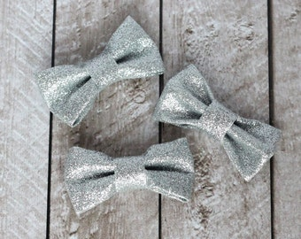 "Set of 3 2.5"" Silver Structured Glitter Bows - For DIY Headbands & Accessories"