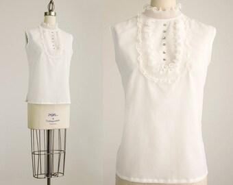 60s Vintage White Chiffon Ruffle Rhinestone Button Blouse / Size Medium