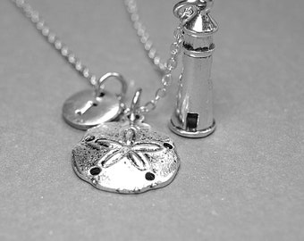 Collier de phare, dollar de sable collier, collier Light House, collier nautique, collier personnalisé, collier initiale, monogramme charme