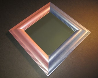 """8"""" wall mirror, pink and blue matching wood frame corners,professionally framed, great for small spaces like a locker or office"""