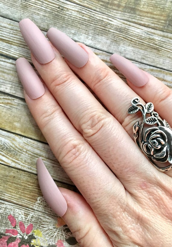 Pink Brown Nude Matte Press On Nails Ballerina Coffin Oval