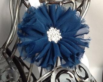 Navy blue headband this headband is a navy blue shabby chic  flower on a white soft headband. Baby headband, girls headband, adult headband