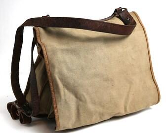 Military school bag, army canvas bag, soviet backpack, vintage school bag, soldiers bag, duffle bag, back to school