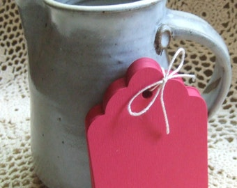"""50 Large Red Scallop Die Cut Gift Tags - 4.75"""" x 3.25""""  Birthday Wedding Favor Tags"""