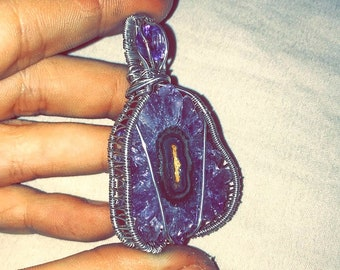 Wire wrapped Amethyst Stalagtite