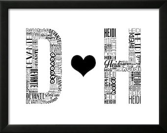 Custom Wedding Gift Art Print (11x14) - Initials In Love