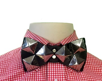 Handmade Leather Snap Bow Tie with Pyramid Rivets - Adjustable / Unisex / OSFM