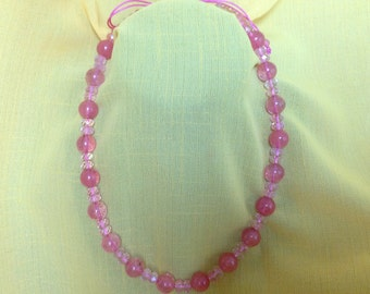 "Watermelon quartz necklace adjustable from 18 1/2"" to 25 1/2"""