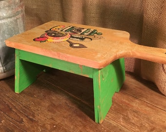 Small Green Wood Foot Stool Bench With A VIntage Cutting Board Top