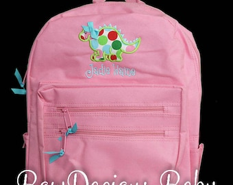 Personalized Girls Backpack, School Backpack, Dinosaur Backpack, Custom, Free Personalization