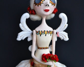 Angel Art Doll - Angel Art - Day of The Dead - Dia de los Muertos - OOAK Angel
