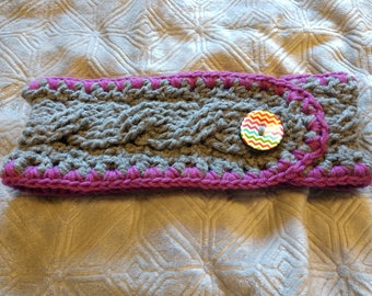 Cable Crocheted Headband with Large Button