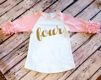 4th Birthday Shirt Toddler Girl Fourth Birthday Party Cake Smash Outfit Birthday Shirt Gold Glitter Four Shirt Girl Birthday Glitter Shirt