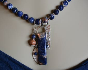 Blue and Orange Sodalite Pendant and Necklace, Silver Pendant Pieces,