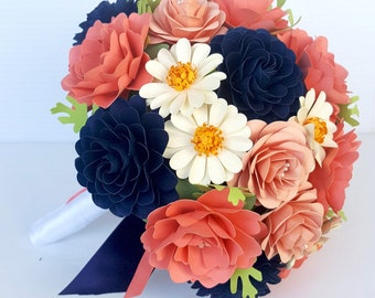 Paper Flower Bouquet - Paper Bouquet - Wedding Bouquet - Coral and Navy - Daisies - Custom Made - Any Color