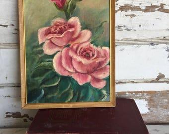 Vintage Painting- Acrylic Rose Floral Amateur Art- 1960s 9 x 12