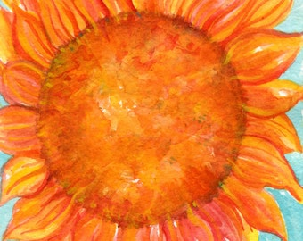 Sunflower original watercolor painting,  small orange sunflower on turquoise home decor, 5 x7, watercolor art, watercolors paintings floral