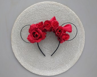 Ready to Ship  - Red Rose Mickey Ears / floral wire mouse ears / minnie ears