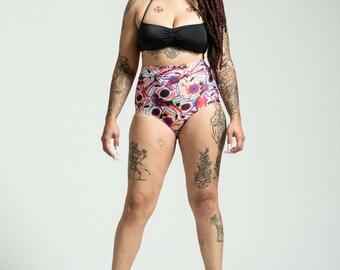 SALE Extended Sizing Pink Sugar Skull High Waist Bikini Bottom Pinup Style