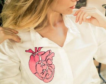 Hand Embroidered Blouse / Shirt with Mexican / Anatomical Heart Embroidery