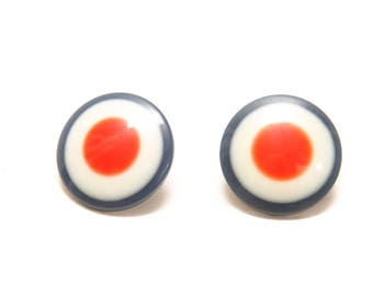 1960s Red White and Blue Plastic Circle Clip On Earrings