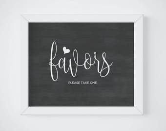 Chalkboard Please Take One Favors Sign, Chalkboard Favor Table Sign, Favors Reception Sign, Calligraphy, Party Favor, INSTANT DOWNLOAD PDF
