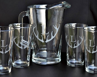 Etched Beer Pitcher and Pint set. Your choice of design  for Home Brew, Bar Set, Best Man, Couples Gift, Wedding,  by Jackglass on Etsy.com