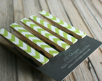Green Chevron Clothespin Magnets, Set of 5