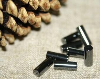 8 round cylinder beads hematite 16X6mm