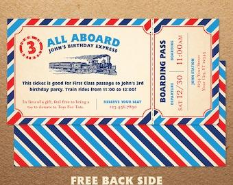 Train Birthday Party Invitation, Train Birthday Invitation, Train Party Invitation, Vintage Train Ticket, Printable Digital Download