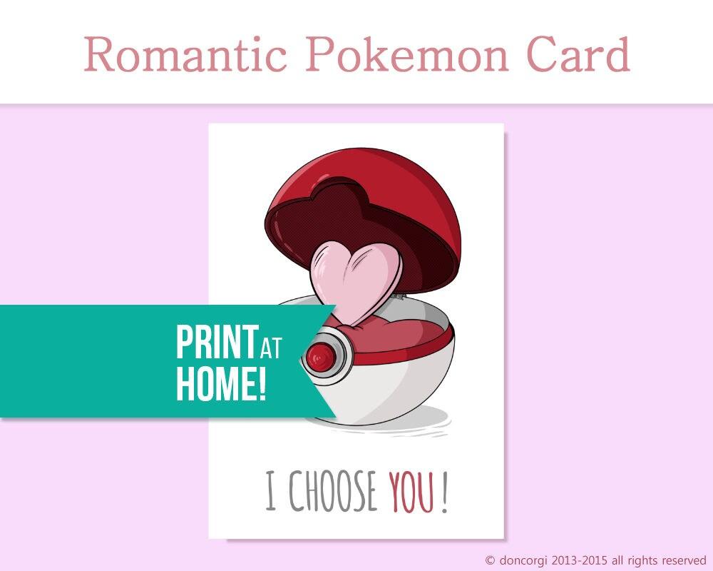 Romantic Pokemon Card I Choose You Printable Valentines